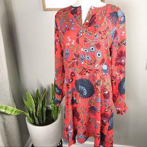 LOFT. Floral print long sleeve dress sz 14